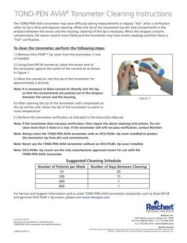 Tono-Pen AVIA Cleaning Instructions