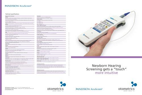 MADSEN AccuScreen - Newborn Hearing Screening Datasheet