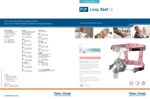 Lady Zest Q? Specification Sheet