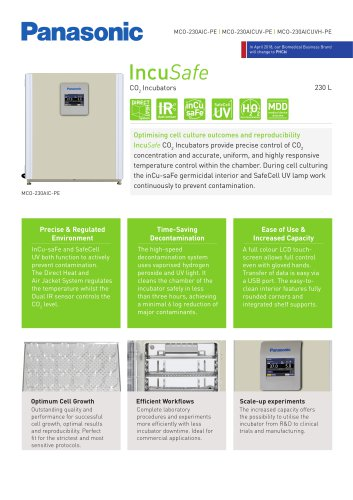 IncuSafe CO2 Incubator MCO-230AIC Product Sheet