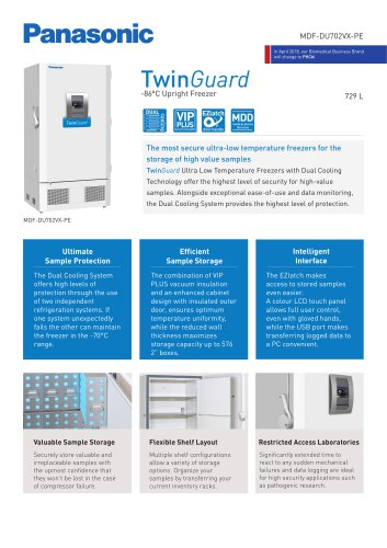 MDF-DU702VX-PE TwinGuard ULT Freezer Product sheet