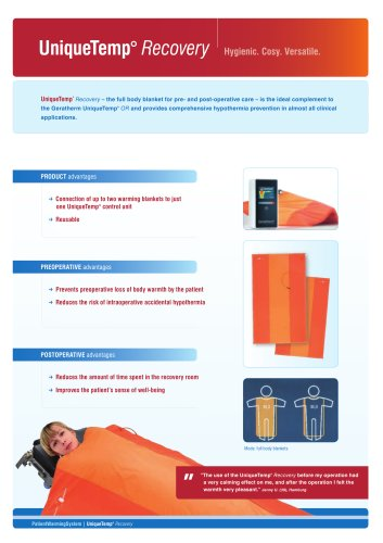 patient warming system UniqueTemp° Recovery