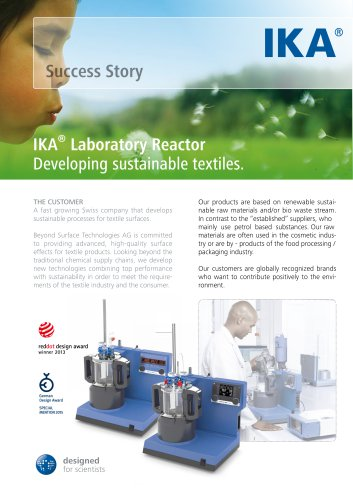 IKA® Laboratory Reactor Developing sustainable textiles.