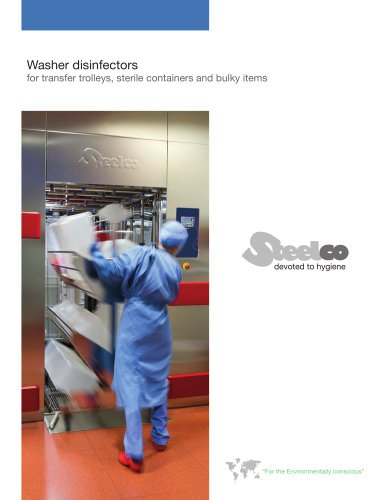 Washer disinfectors for transfer trolleys, sterile containers