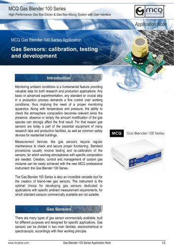 Gas Sensors: calibration, testing and development