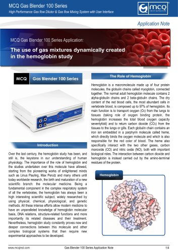 The use of gas mixtures dynamically created in the hemoglobin study
