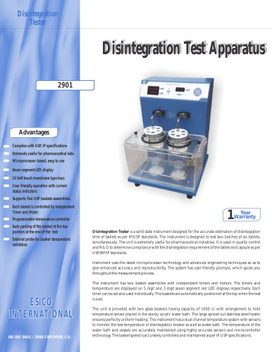 Disintegration Test Apparatus 2901