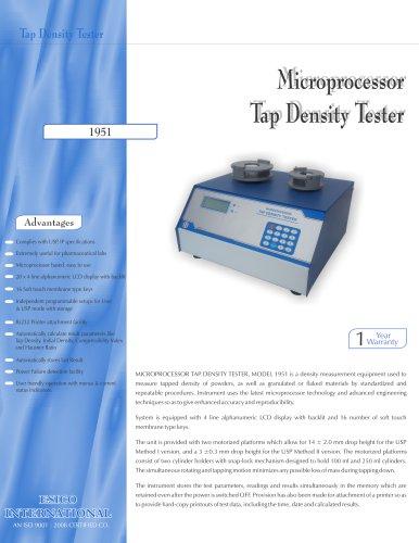 Microprocessor Tap Density Tester 1951