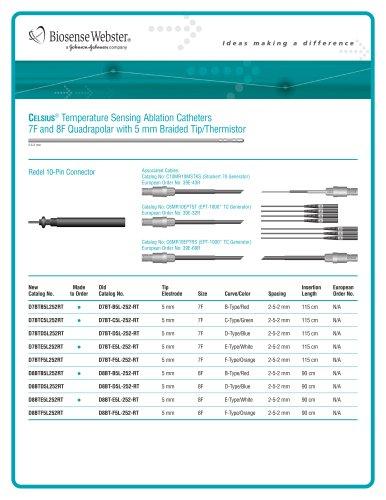 7F and 8F Quadrapolar Catheter with 5 mm Braided Tip/Thermistor