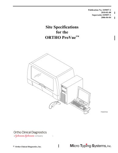 ORTHO ProVUE(R) Site Specifications