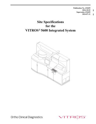 Site Specifications for the VITROS®5600 Integrated System