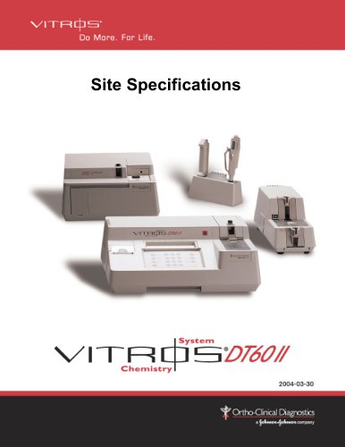 Site Specifications  VITROS DT60 II