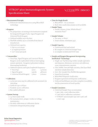 VITROS® 3600 Immunodiagnostic System1 Specifications Sheet