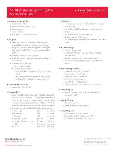 VITROS® 5600: Specifications Sheet