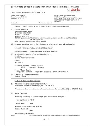 Safety data sheet in accordance with regulation