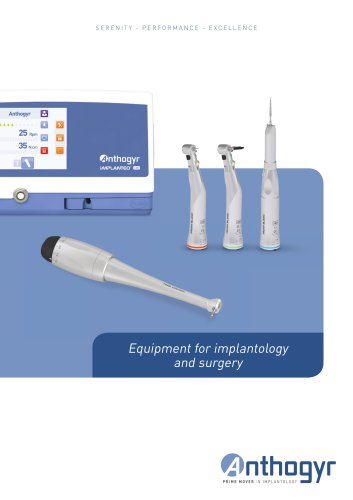 Brochure equipment for implantology and surgery