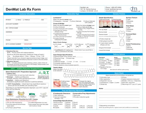 DenMat Lab Rx Form