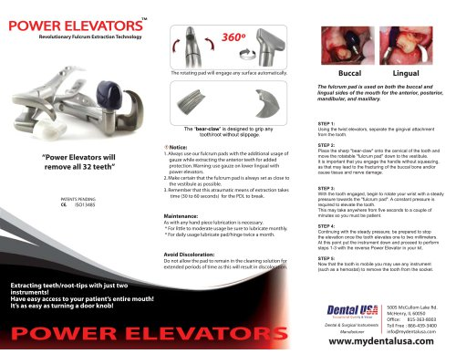 Dental USA Power Elevators Brochure