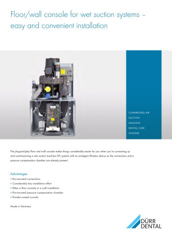 """Floor/wall console """"plug-and-play"""" for wet suction systems"""