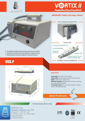 Vortix : vacuum suction drill for podiatry, podology, nails