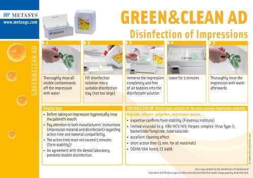 GREEN&CLEAN AD Disinfection of Impressions