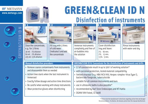 GREEN&CLEAN ID N Disinfection of instruments