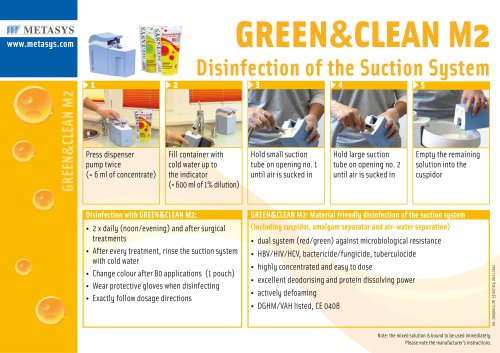 GREEN&CLEAN M2 Disinfection of the Suction System