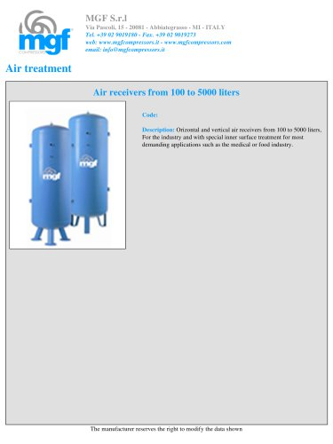 AIR RECEIVERS FROM 100 TO 5000 LITERS