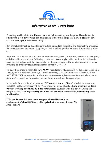 Information on UV-C rays lamps