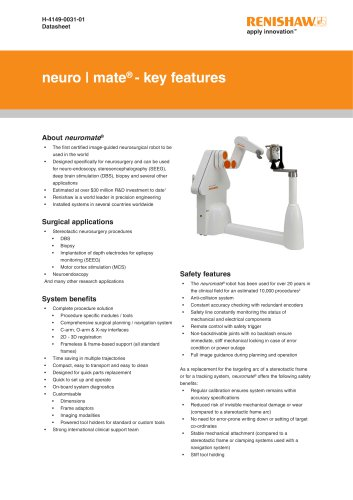 Data sheet: Key features of the neuromate® stereotactic robot