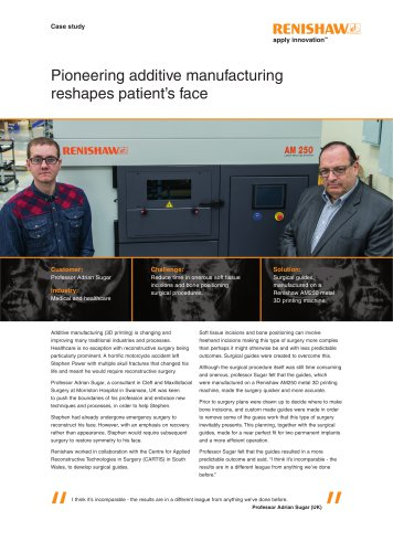Pioneering additive manufacturing reshapes patients face