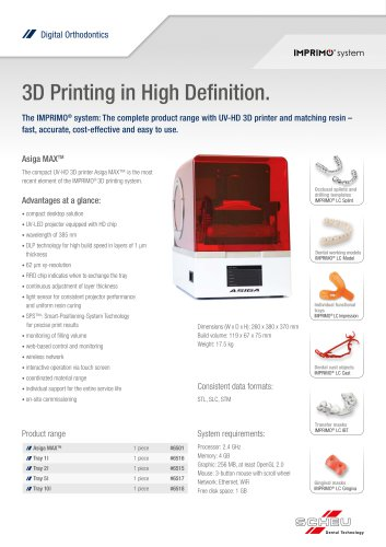 3D Printing in High Definition. Asiga MAXTM