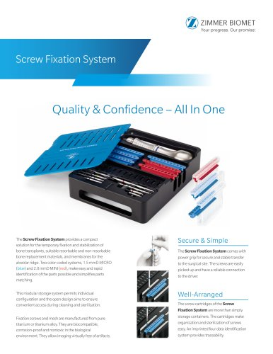 Screw Fixation System Ordering Info