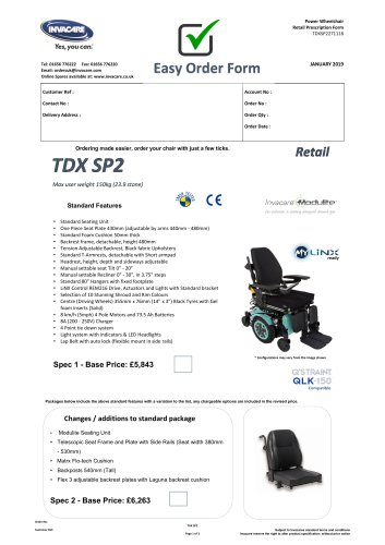 TDX SP2 Max user weight 150kg