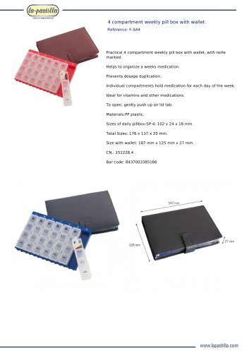 4 COMPARTMENT WEEKLY PILL BOX WITH WALLET