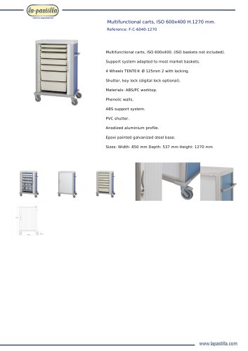 MULTIFUNCTIONAL CARTS, ISO 600X400 H.1270 MM.