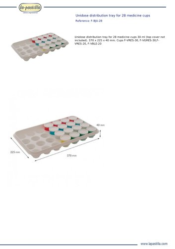 UNIDOSE DISTRIBUTION TRAY FOR 28 MEDICINE CUPS