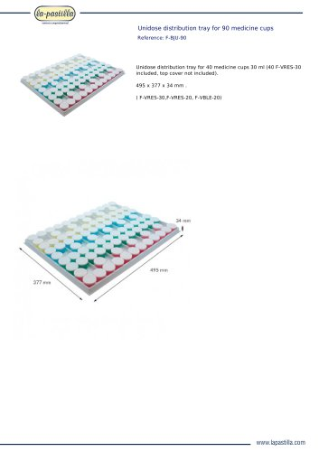 UNIDOSE DISTRIBUTION TRAY FOR 90 MEDICINE CUPS