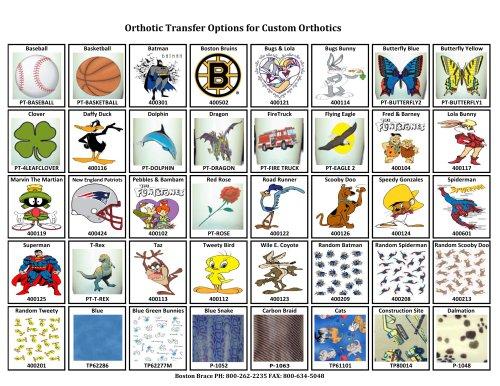 Orthotic Transfer Options for Custom Orthotics
