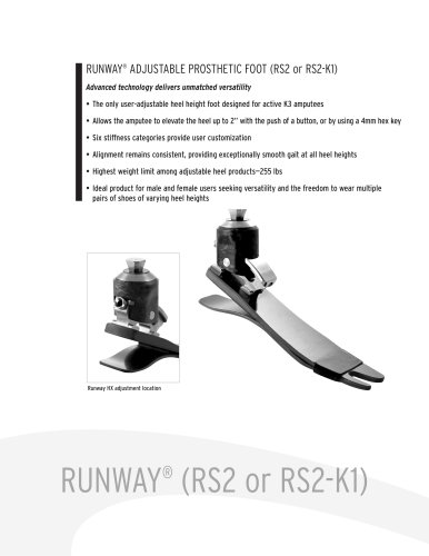 RUNWAY® ADJUSTABLE PROSTHETIC FOOT (RS2 or RS2-K1) Advanced technology