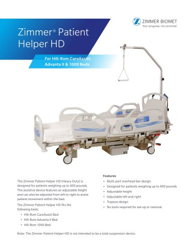 Zimmer® Patient Helper HD For Hill-Rom CareAssist, Advanta II & 1000 Beds Brochure