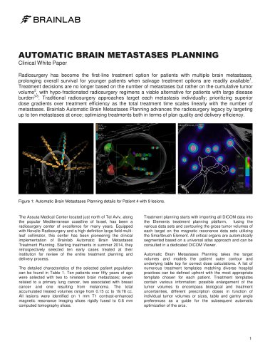 AUTOMATIC BRAIN METASTASES PLANNING Clinical White Paper