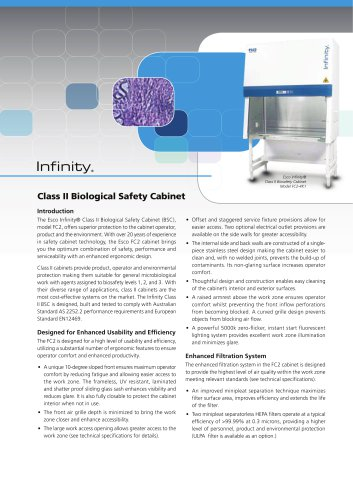 Infinity Class Ii Microbiological Safety Cabinets Australia