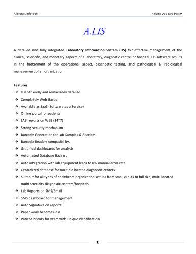 Laboratory Information System (ALIS)