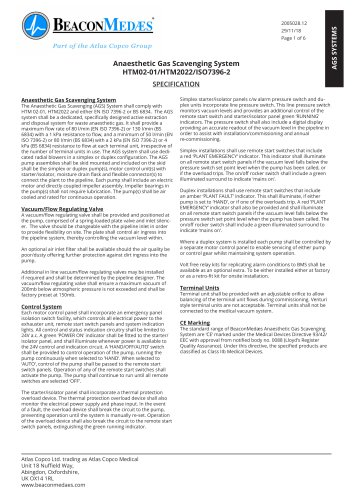 Anaesthetic Gas Scavenging Systems HTM/ISO Specification Sheet