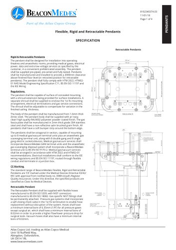 Flexible, Rigid and Retractable Pendants HTM/ISO Specification Sheet