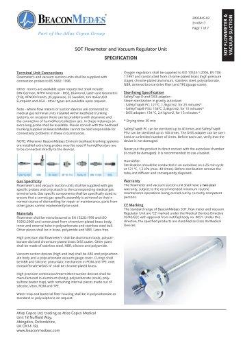 Flow Meters and Vacuum Regulators HTM/ISO Specification Sheet