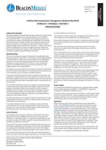 LifeLine MCS Automatic Manifold HTM/ISO Specification Sheet