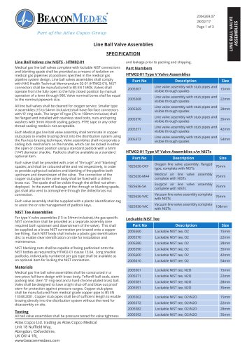 Line Ball Valve Assemblies HTM/ISO Specification Sheet