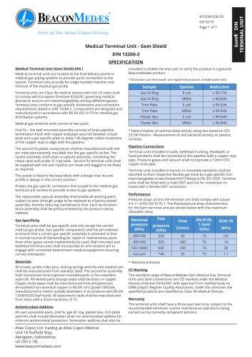 Medical Terminal Unit Gem Shield DIN 13260-2 HTM/ISO Specification Sheet